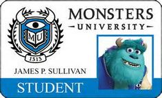 Monsters University posters and ID cards. ID cards and character posters for Monsters University starring Billy Crystal and John Goodman. Monster University Party, Monsters Inc University, Monster Inc Party, Mike And Sulley, Mike Wazowski, Billy Crystal, Sully, Cinema, Monsters Inc