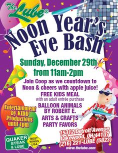 Lakewood Quaker Stake and Lube Noon Eve Bash on Sunday, December 29 11 AM - 2 PM - kid meal free, balloon animals, crafts and apple juice toast :)