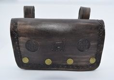 Smartphone belt purse, wallet in a steampunk style. Made from leather