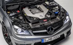 The 6.3 V8 motor on the 2014 Mercedes-Benz C63 AMG Edition 507.  Brilliant.  A hot rod for the 21st Century