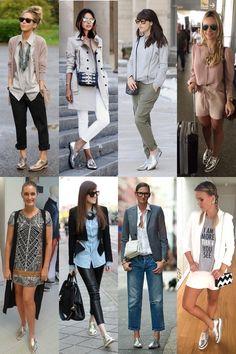 A tendência do sapato baixo metalizado | Sutileza Feminina