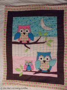 Charming soft Owl baby quilt perfect for the new little ones nursery