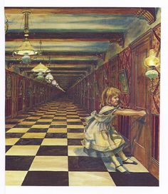 Vintage Alice In Wonderland, Alice Trying To Get Out Of Locked Room At Bottom Of Rabbit Hole, And Alice Looking Through The Little Door, Antique Children Print, Decorative Paper, Lewis Carroll, Adventure