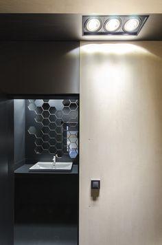 q19 copy Small Kitchenette, Old Tools, Wood Texture, Light Fittings, Interior Design, Mirror, Bathrooms, Furniture, Studio