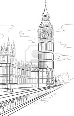 Big Ben of Tower in London. Drawing big Ben of Tower in London, UK , London Sketch, London Drawing, Big Ben London, Building Drawing, Perspective Drawing, London Skyline, A Level Art, Landscape Drawings, Line Drawing