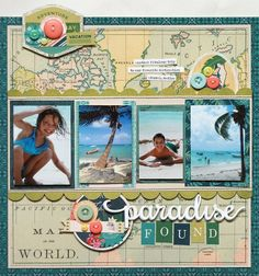 Creative Image of Scrapbook Travel Ideas Layout Scrapbook Travel Ideas Layout New From Basicgrey South Pacific Collection Scrapbook Album Photo Scrapbooking, Beach Scrapbook Layouts, Travel Scrapbook Pages, Album Scrapbook, Vacation Scrapbook, Birthday Scrapbook, Scrapbook Sketches, Scrapbook Paper Crafts, Scrapbooking Layouts
