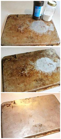 """New Life For Old Cookie Sheets… Again ~ """"Miracle Cleaner"""" {Baking Soda and Hydrogen Peroxide} + Time = Results. Baking Soda Drain Cleaner, Baking Soda Water, Baking Soda Shampoo, Baking Soda Beauty Uses, Baking Soda Uses, Cleaning Solutions, Cleaning Hacks, Clean Cookie Sheets, Miracle Cleaner"""