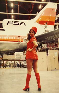 so short!!!! More Vintage photos Pacific Southwest Airlines Stewardesses ~ Cabin Crew Photos Cabin Crew, 21st, Flight Attendant, Image, Boots, Beautiful, Sexy, Cool Girl, Fashion