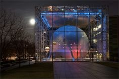 Rose Center for Earth and Space at night  (c) AMNH/R. Mickens