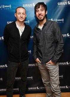 Singer Chester Bennington and guitarist Mike Shinoda pose for photos inside the SIRIUS XM Studio on September 16, 2010 in New York City.