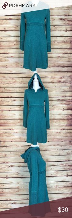 Prana Teal Tunic Long Sleeve Hooded Dress Medium Prana teal tunic/dress. Long sleeve. Hooded. Heathered. Detail at waist. Size medium. 100% organic cotton. Excellent preowned condition with no flaws. Prana Tops Tunics