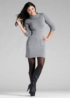 Вязаное платье, серый меланж