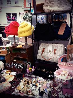 Vintage hats, bags and jewellery from the Bus Stop Vintage stall at The…