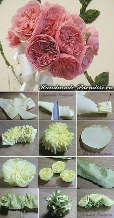 Английская роза Дэвида Остина из ткани. МК | HandMade