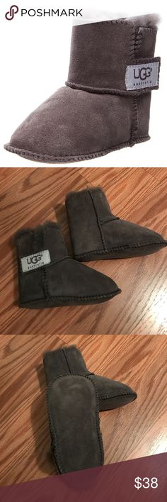 "Ugg Erin Infant/Toddler Boots These look pretty much new. Not even sure if they were worn. They're a dark gray and match everything! Perfect for the tiniest trendsetters, this cozy style is crafted from soft suede and lined with plush sheep wool with 3.75"" shaft height. Size small fits size 2/3 per Ugg website. (Photo credit: Google) UGG Shoes Boots"