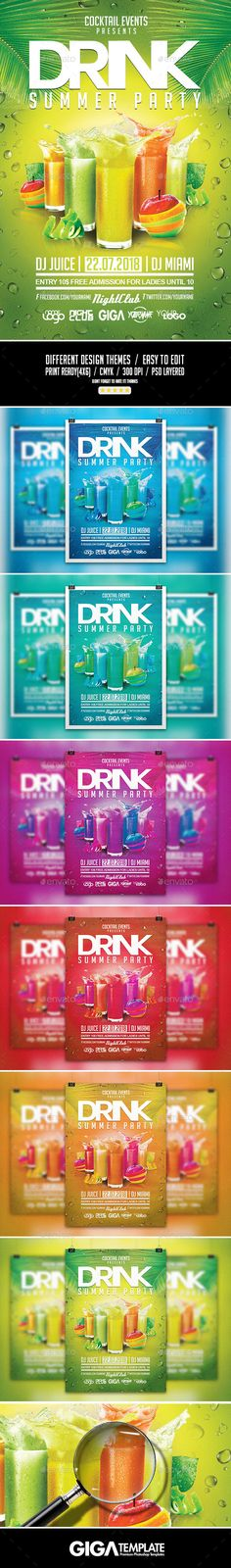 Drink Summer Party |  VIP Night Flyer PSD Template - Events Flyers