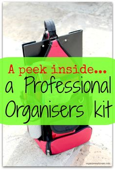 A Sneaky Peek Inside the Kit of a Professional Organiser A professional organiser has everything needed to tackle an organising project to hand. This kit is perfect for anyone tackling projects in their home too. Home Organisation, Business Organization, Tool Organization, Household Organization, Organize Your Life, Organizing Your Home, Organising Ideas, Decluttering Ideas, Professional Organizing Tips