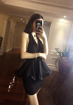 17.81 Black Pleated Backless Halter Neck Deep V Mini Dress online with  cheap prices and discover 585d1f34b