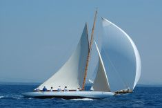 White Yacht with gennaker stock photo