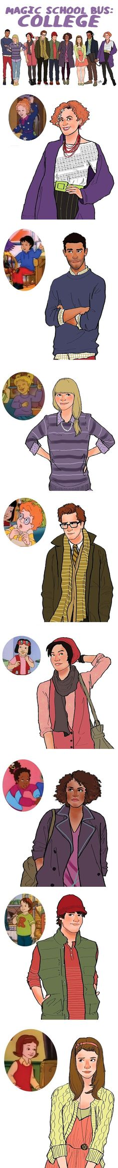 College aged Magic School Bus characters…