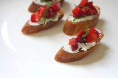 strawberry goat cheese bruschetta by shutterbean, via Flickr...add balsamic reduction drizzle