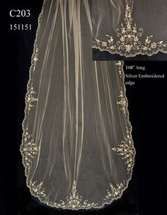 Cathedral Length Wedding Veil C203 with Beaded Silver Embroidery by JL Johnson Bridals.