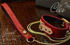 Luxury Dog Collars, Unique Dog Collars, Designer Dog Collars, Leather Dog Collars, Panther Ring, Dog Show, Color Blending, Red Leather, Jewels