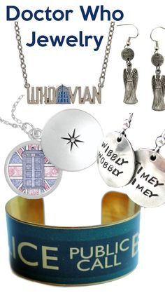 Fun jewelry for Doctor Who fans. Some is official and some is loosely inspired, but so fun!