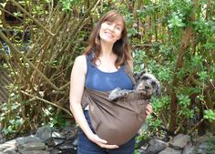 We so did this! haha! The Only Way to Test Baby Carriers: With Dogs   Dogster #babycarrier #schnauzer