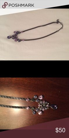 Beautiful Givenchy Necklace Beautiful gunmetal colored Givenchy necklace. Purple Swarovski crystals. Adjustable length. This necklace is a real stunner-very sparkly 💖 Givenchy Jewelry Necklaces