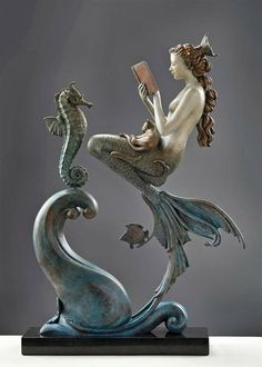 The Mermaid's Secret by Michael Parkes bronze sculpture Mermaid Sculpture, Mermaid Art, Mermaid Statue, Art Nouveau, Mermaid Stories, Greek Statues, Buddha Statues, Mermaids And Mermen, Merfolk