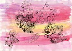Kunstunterricht: Herbstlätter mit Wasserfarben abdrucken