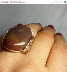 SALE Natural Stone Gold Ring Any Size Mocha by HardCandyGems