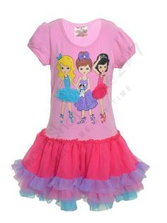 Girls T-Shirt Tutu Summer dress Ballerina Fuchsia pink by Beautees Size 4,6 NEW