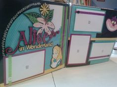 12x 12 pre made scrapbook layout Alice in by SamsScrapShop on Etsy, $20.00
