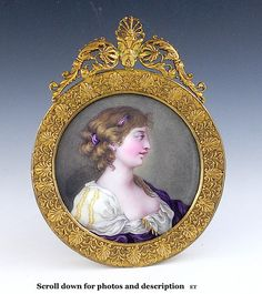 c1830-1850 SWISS? MINIATURE PORTRAIT OF A YOUNG WOMAN IN PURPLE