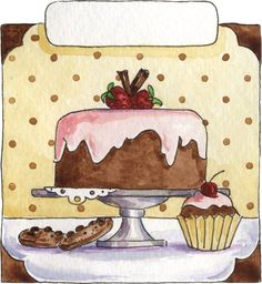 .♥...☆...❤...☆...♥ Cupcake Torte, Cupcake Card, Sweets Clipart, Sweets Art, Printable Art, Printables, Cake Logo, Recipe Scrapbook, Arts And Crafts