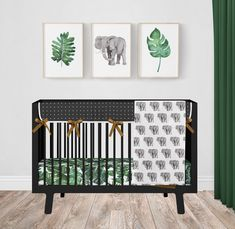 Jungle Crib Bedding Set with Elephants and Palm Leaves, Mustard Yellow, Green and Black Modern Baby Nursery Bedding Black Nursery Furniture, Black Crib Nursery, Baby Nursery Bedding, Crib Bedding Sets, Elephant Themed Nursery, Safari Theme Nursery, Nursery Themes, Nursery Ideas, Nursery Decor