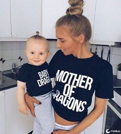 Mother of dragons and Baby dragon matching shirts set worn by the incredible and her sweet little Leon ✨ We couldn& be happier! Link to buy in bio Mommy And Me Outfits, Family Outfits, Boy Outfits, Mommy And Son, Mom And Baby, Baby Boy, Baby Shirts, Family Shirts, Onesies