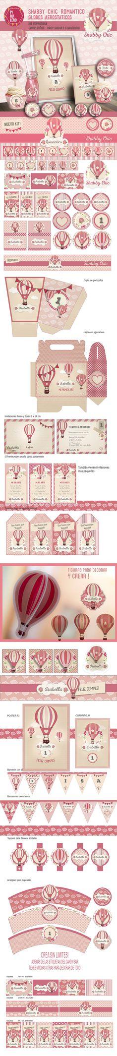 Kit imprimible Shabby chic romántico - Globos aerostaticos - rosas