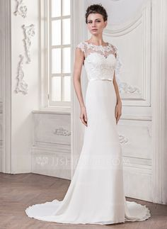 Less than $200. Current 2015 style. Trumpet/Mermaid Scoop Neck Court Train Chiffon Tulle Charmeuse Wedding Dress With Appliques Lace Bow(s) (002058761)