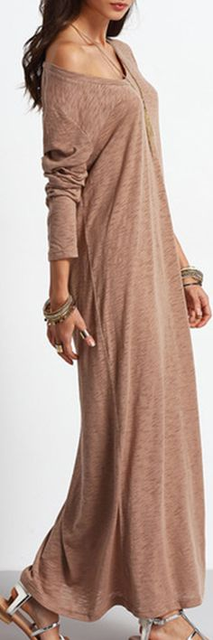 Apricot Scoop Neck Casual Maxi Dress. Love it. Very comfortable. Slightly sheer. More brown than peach. Great dress for spring and summer. shein.com. design