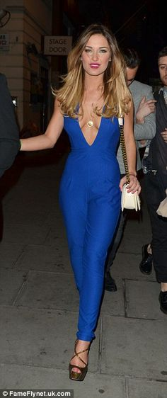 Jump to it! Ditching her Nicole Scherzinger dress for an electric blue jumpsuit, TOWIE's Sam Faiers wears two outfits in one night as she parties in central London