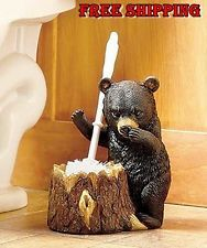 Rustic Brush Bear Animal Toilet Holder Log Cleaning Bathroom Supplies Decor Gift