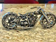 Metal Motorcycle Sculpture Street Chopper  Rider