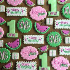 Watermelon Birthday Parties, 1st Birthday Parties, Birthday Ideas, One Year Birthday, Baby Girl First Birthday, Watermelon Cookies, Birthday Breakfast, Happy 1st Birthdays, Birthday Cookies
