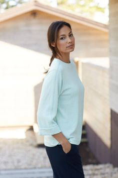Pure Jill reverse-seam top (in mint heather).