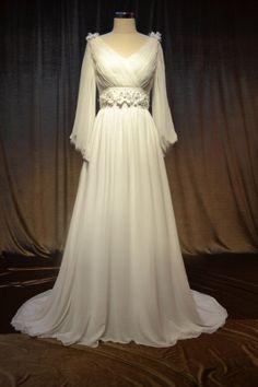 Custom Made Chiffon Wedding Dress Long Sleeves by Didocouture on Etsy.