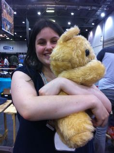Whenever anyone holds the bear from Lloyd and the Bear, they always have this look of content bliss.So damn huggable.