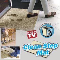 Clean Step Mat by Ontel. $11.37. Clean Step Mat  Super absorbent doormat. Absorbs mud like magic!  Just step to clean...no need to wipe your feet.  Clean Step Mat absorbs mud like magic! Clean Step Mat, the super absorbent doormat traps dirt and water instantly, keeping floors clean and dry. Non-slip latex backing won't slip or scuff floors.  Low profile design so doors won't get stuck. Machine washable. ??Clean Step Mat's secret is millions of super absorbent fibers that absorb...